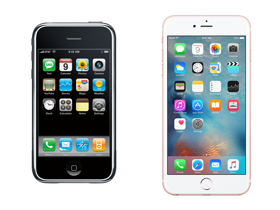 iPhone OS 1 vs. iOS 9.2